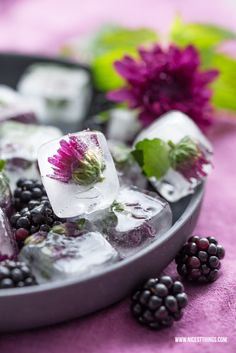Ice Cubes With Edible Flowers / Dahlias