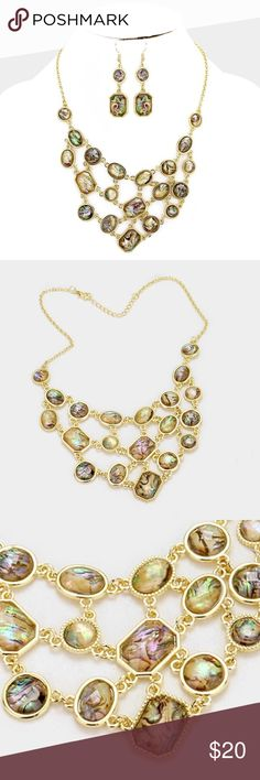 "Abalone Cluster Necklace Set • Color : Abalone  • Necklace Size : 16"" + 2"" L • Decor Size : 2.25"" L • Earrings Size : 2.5"" L • Multi-Shape Abalone Cluster Bib Necklace Jewelry Necklaces"