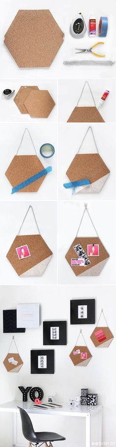 How to make Creative DIY Craft from a Cork Memo Board Diy Crafts To Sell, Home Crafts, Office Deco, Deco Cool, I Spy Diy, Ideias Diy, Home And Deco, Handmade Home Decor, Diy Wall Art