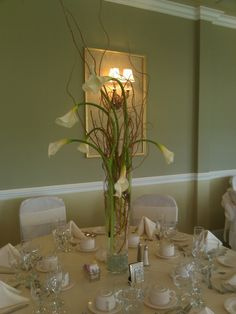 Centerpieces -Callas and curly willow.