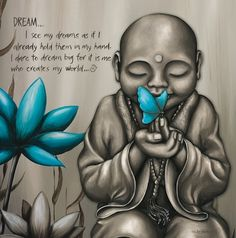 """""""Dream Monk"""" canvas print (30cm x 30cm) – Lisa Pollock. DREAM…I see my dreams as if I already hold them in my hand. I dare to dream big for it is me who creates my world."""