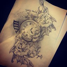Pocket watch and roses; my own next tattoo design