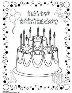 geburtstag kuchen teddy-bär   happy birthsday coloring   geburtstag, geburtstag kuchen und geburt