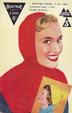 Great vintage knitting and crochet pattern for super snug hood and perky little crochet cap with tassel.