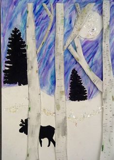 inspiration for mixed media winter art project - love that the trees are made from birch bark monochromatic Classroom Art Projects, Art Classroom, Winter Art Projects, 6th Grade Art, Theme Noel, Art Lessons Elementary, Reno, Teaching Art, Preschool Learning
