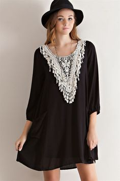 Fringe Applique Pocket Dress - Black