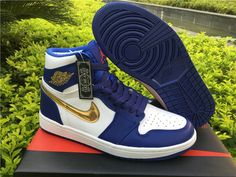 2e466727078a Nike Air Jordan 1 Retro High Olympic Mens Basketball Shoes Blue  Gold