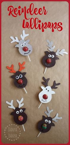 the Lollipop-Nosed Reindeer Rudolph the Red-nosed Reindeer Lollipop craft - super cute gift idea for kids' school classmates for Christmas.Rudolph the Red-nosed Reindeer Lollipop craft - super cute gift idea for kids' school classmates for Christmas. Christmas Activities, Christmas Holidays, Christmas Decorations, Christmas Ornaments, Reindeer Christmas, Christmas Presents For Kids, Christmas Carol, Handmade Christmas, Origami For Christmas