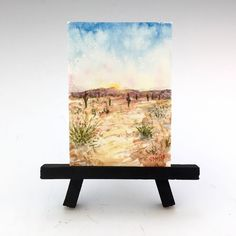 """The latest addition to my #etsy shop: Original Watercolor Painting on Paper - Sonoran Desert Art - Miniature Painting - ACEO or ATC - Southwest Fine Art - """"Desert Walkabout"""""""