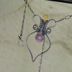 Artisan Amphora Necklace Amethyst and Citrine by NeroliHandmade