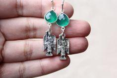 GREEN ONYX ARCHANGEL RAPHAEL EARRINGS - Angel Earrings, Green Onyx, Spiritual Jewelry, Protection Jewelry, Archangel Jewelry, Angel Earrings