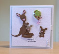 Birthday Card, Handmade - Marianne kangaroo die. For more of my cards please visit CraftyCardStudio on Etsy.com.