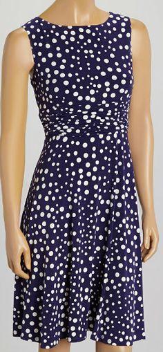 Navy  White Polka Dot Sleeveless Dress