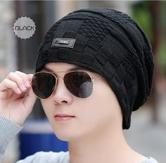 ffd66d75e27 Winter  Knitted Ski Hats Men  Skullies  Beanies Fleece Caps Warm Boys Thick  Cotton