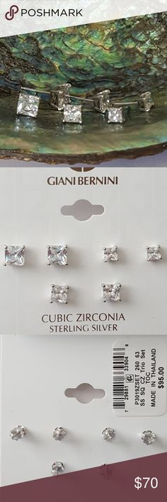 """Giani Bernini Cubic Zirconia 3pc Square Studs Giani Bernini Set of 3 Cubic Zirconia Sterling Silver Square Stud Earrings *3 graduated sizes *Approximately 1/6"""", 1/5"""" and 1/4"""" *New in packaging Giani Bernini Jewelry Earrings"""