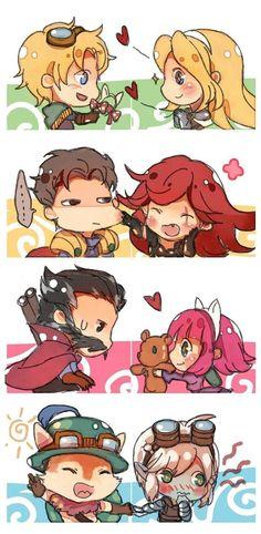 League of Legends couples. So cute <3 Katarina & Garen, Ezreal & Lux…
