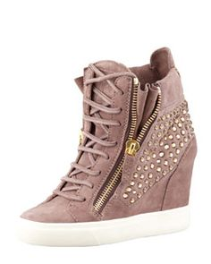 Giuseppe Zanotti Pink Crystal-Studded Suede Wedge Sneaker