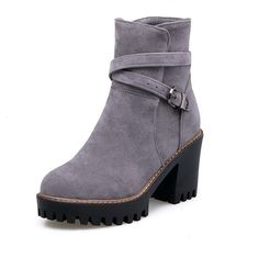 Women's Low-top Solid Buckle Pointed Closed Toe Kitten-Heels Boots