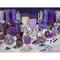 Purple Candy Buffet September Wedding Maybe purple isn't the right color but love the set-up