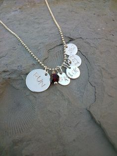 Runner's Birthstone Necklace - Hand Stamped, Your Choice of 5K 10K 13.1 or 26.2 Charms, Birthstone and Length -- Wow! I love this. Check it out now! : Handmade Gifts