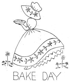 Hand Embroidery Pattern 124 Old Sunbonnet Colonial Girl for Tea Towels   blondiesspot - Handmade Supplies on ArtFire