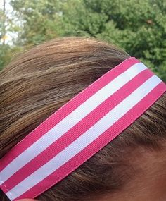 One Up Thick Hot Pink and White Non Slip Headband
