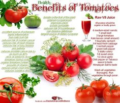 Health Benefits of Tomatoes Infographic and Recipe for Raw V8 Juice