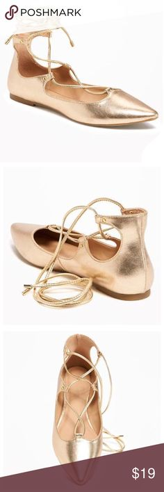 """NWT Old Navy Pointed-Tor Lace-Up Flats in Gold NWT Old Navy lace-up ballet flats in """"Light Gold Rush."""" Smooth, faux-leather upper, with metal grommet details and string lace-up front above the ankle. Pointed toe. Covered heel. Cushioned faux-leather foot bed. Textured rubber outsole. 1/4"""" heel. New with tags. ✖️ No trades 
