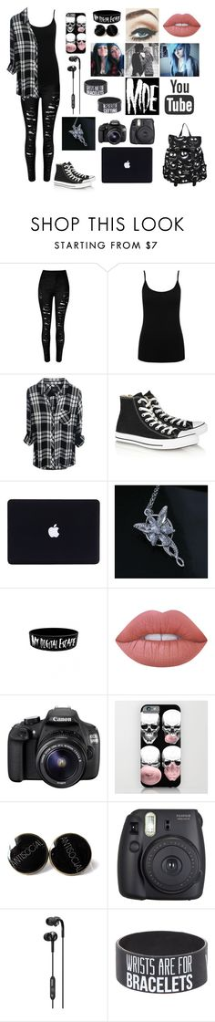 """Alex Dorame"" by black-is-the-colour-of-my-soul ❤ liked on Polyvore featuring M&Co, Converse, Lime Crime, Eos, Fuji and Skullcandy"