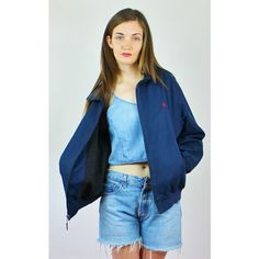 Re:dream Vintage Polo Ralph Lauren Logo Fleece Lined Bomber Jacket ($60) ❤ liked on Polyvore featuring outerwear, jackets, blue, collar jacket, harrington jacket, flight jackets, vintage flight jacket and collared bomber jacket
