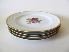 Four #Noritake #Sharon Salad Plates, 3057, Japan, Rose Pattern China, Gold Trim by RiverStonesFiberArts on Etsy