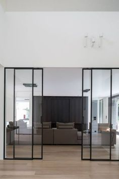Sliding doors are also practical and now very popular. For you who have small spaces at home, sliding doors are a perfect choice. Here are some sliding doors ideas for your beautiful home. Check these out Interior Architecture, Interior And Exterior, Exterior Doors, Steel Doors, Deco Design, Design Trends, Windows And Doors, Cheap Home Decor, Home And Living