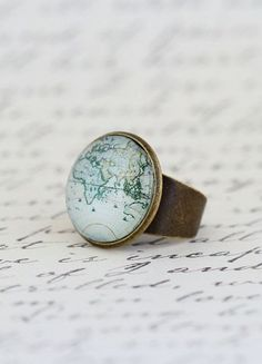 Cocktail Ring, Map Ring, Gift For Traveller, World Map