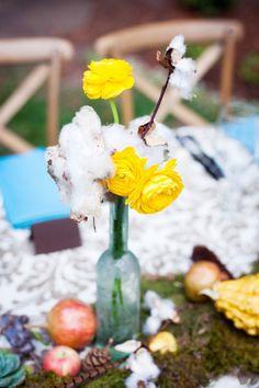 Cotton/ yellow ranunculus centerpiece - Los Gatos, California Wedding from Janae Shields Photography