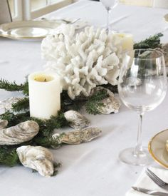 Coastal Christmas Table Centerpiece Ideas with Evergreens and Sea Treasures added. Such as Shells faux Coral and more. Featured on Completely Coastal. Coastal Christmas Decor, Nautical Christmas, Beach Christmas, Christmas Time, Coastal Decor, Christmas Table Centerpieces, Christmas Tablescapes, Christmas Tree Decorations, Centerpiece Ideas
