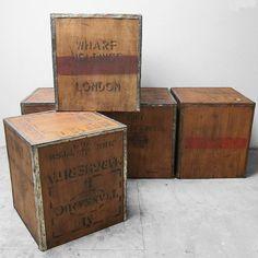 Vintage Tea Chest Trunk Box Crate London Transport Storage
