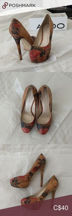 Aldo heels 5 inch heels with 1 inch platform. Worn once to a wedding. Aldo Heels, Shoes Heels, Plus Fashion, Fashion Tips, Fashion Trends, 5 Inch Heels, Platform, Floral, Closet