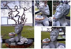Medusa Betonskulptur Holz Haselnussholz Knetbeton skulpturing head Gartendeko concrete skulptur head concrete crafts concrete diy gardening Gartenstatue aus Beton Büste