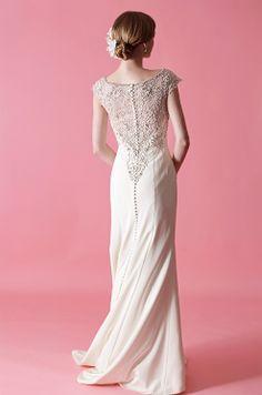 Badgley Mischka wedding dress with beaded back, Fall 2012