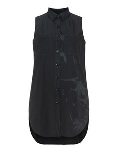 Printed cotton long line shirt in Black designed by Luukaa to find in Category Blouses at navabi.de
