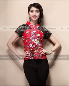 ZANSE Lace Mixed Floral Oriental Top