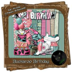 Western themed digital birthday kit composed of 12 (3600 x 3600 pixel, .jpg) papers and 40 .png elements.  300 DPI.  Personal use only. Also available in tagger size.