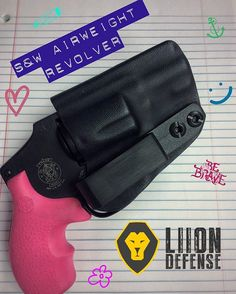 We just made this holster for a very special lady. Hope she likes it!  It's always fun exploring the revolver side of holster making.  #sw #airweight #airweight38 #sandw #guns #gun #revolver #revolvers #liiondefense #iwb #iwbholster #insidethewaistband #kydex #kydexholster #kydexdaily #kydexholsters #kydexpro #kydexlife #girlguns #girlgun #pinkgun #pinkguns