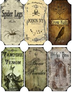 Vintage inspired Halloween 6 large bottle label stickers scrapbooking crafts picclick.com