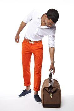 Orange Chinos, Hermes Belt, and Brown Duffle Bag.Mens Spring Summer Fashion.