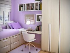 Floating White Wooden Books Shelves On The Purple Wall Combined With White  Wooden Study Table And White Chair Having Wheels On The Rug Beside Brown  Wooden ...