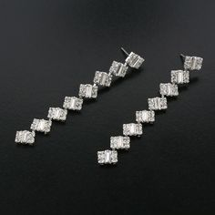 Modern Baguette Linear Rhinestone Earrings | Giavan