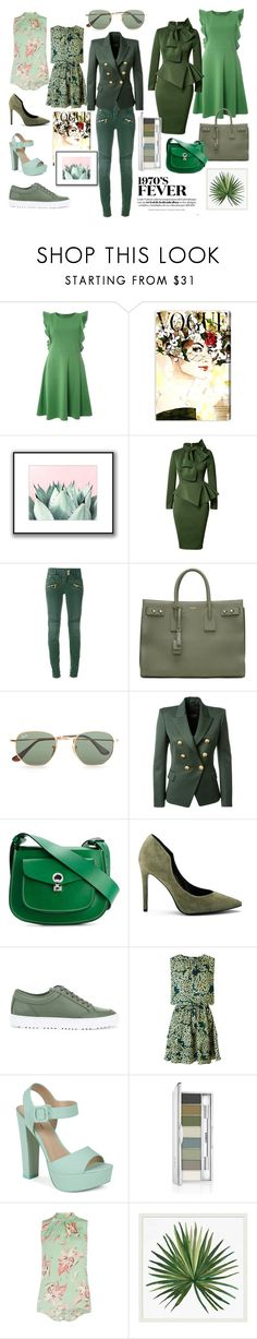 """""""Color Inspiration - Green"""" by angiess19 on Polyvore featuring moda, Dorothy Perkins, Oliver Gal Artist Co., Balmain, Yves Saint Laurent, Ray-Ban, Marni, Kendall + Kylie, ETQ. i Maison Scotch"""