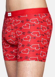 red boxer briefs look a whole lot better with white hearts and black arrows made - Valentines Boxer Briefs