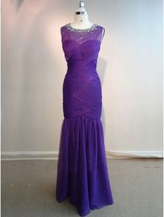 cheap purple sleeveless long chiffon mermaid evening dress with crystals